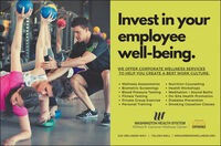 Invest in youremployeewell-being.WE OFFER CORPORATE WELLNESS SERVICESTO HELP YOU CREATE A BEST WORK CULTURE: Nutrition Counseling Health Workshops Wellness Assessments Biometric Screenings Blood Pressure Testing  Meditation + Sound Baths Fitness Testing Private Group Exercise Personal Training On-Site Health Promotion Diabetes Prevention Smoking Cessation ClassesWASHINGTON HEALTH SYSTEMWilfred R. Cameron Wellness CenterEXOSEXPERIENCE240 WELLNESS WAY.I 724.250.WELL I WRCAMERONWELLNESS.ORG Invest in your employee well-being. WE OFFER CORPORATE WELLNESS SERVICES TO HELP YOU CREATE A BEST WORK CULTURE:  Nutrition Counseling  Health Workshops  Wellness Assessments  Biometric Screenings  Blood Pressure Testing  Meditation + Sound Baths  Fitness Testing  Private Group Exercise  Personal Training  On-Site Health Promotion  Diabetes Prevention  Smoking Cessation Classes WASHINGTON HEALTH SYSTEM Wilfred R. Cameron Wellness Center EXOS EXPERIENCE 240 WELLNESS WAY.I 724.250.WELL I WRCAMERONWELLNESS.ORG