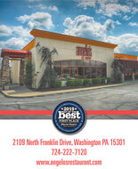 orter'a Otncial Comme*2019*BEST OF THEbestFIRST PLACEObscruer-Reportererving OutCommunty2109 North Franklin Drive, Washington PA 15301724-222-7120www.angelosrestaurant.comce 1808 orter'a Otncial Comme *2019* BEST OF THE best FIRST PLACE Obscruer-Reporter erving Out Communty 2109 North Franklin Drive, Washington PA 15301 724-222-7120 www.angelosrestaurant.com ce 1808
