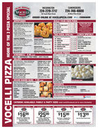 """ONLINE ORDERING(VOCELLIWASHINGTONCANONSBURG724-229-7717124-746-4800192 South Main Street30 West Pike StreetPIZZAwww.vocelliptza.comORDER ONLINE AT VOCELLIPIZZA.COMBUILD YOUR OWN PIZZAAPPETIZERSOVEN ROASTED CHICKEN WINGSCOSE YOUR FLAVOR Butao Be2 Hat B80Hat Wnvies Battale, Mange Haban. CarieCaric Remane. Comes wth Blun CheseRanch for doping.Bone-in Chicken WingsSingle 10 wings forParty iserves -12 S0 wings for 43.99Boneless Chicken WingsSingle 10 wings for 19Party terves -12 50 wings for 44.9Wing t perder say va dng lo sal6 slon 1.9910 SMALL10 GLUTEN FREE CRUST n 912 MEDIUMCLUTEN FREE CRUSTGt comcien tyanVillew oer vortuen free crutNot commend e ctenC D n lelutes Ofe pantans inaghe mantwth pn t toppingIslices 9.9914"""" LARGE ionat or the Crss 11.9916 NEAPOLITAN18 COLOSSO12 sices 129912 sies 13.93TWO PIZZA SPECIAL1-Tepping included for cach pizza10 SMALLLUNCH SPECIALS$8.99 EACHAvailable Daily until 4,00pmCHICKEN TENDERSCHOOSE TOUR DIPPINE FR Buftalo, B0. VOCELLI ROLLSHat Wsevius Batalo, t B0, Mange Habanera, Pecperni. Garik, Baten Cheddar or SpinachGarie, Garlic Romane, Maritara, RanchBue Cheee or Honey Djen MustardSingle 4 tenders for 199Party (serves-1232 tenders for 54.992 for 13.9912"""" MEDIUM2 for 16.99CHOOSE ONE:Meshroom Served with marinara saoen,Single i rolls for 7.99Party serves -12 32 rolls fer 34.9Small 1-Toppling PizaAny House Baked Sub14"""" LARGE2 for 20.9914"""" LARCE THIN CRUST 2 for 20.9916"""" NEAPOLITAN2 for 22.99 Any Stromboll2 for 25.99 Any SaladBREADSTICKSSingle 8 sticks for 4.99Party (serves -12 24 sticks fer 14.99BREADSTICK BITESSingle 499I Party 90 bites for 14.99 ARTISAN PIZZASCHEESESTICKS12 sticks for 6.9918"""" COLOSSO""""Rto be conbd aer ette penInclades a 20-az. BeverageBRUSCHETTA6 pieces for 1.9STROMBOLI 8.99 eachSTEAK  PEPPERONI  PICK THREE  SPICY ITALIANSALADSSmall 10"""" 6 slicen) 18.99 I Medium 12"""" (3 slices) 13.99 I Large 14 8 slices) 16.9Neapolitan 16"""" (12 slices) 19.99 I Celosse 18 (12 slices) 21.99DELUXEHAWAIIANPHILLY STEAKMEAT MAGNIFICO CHICKEN SPIN"""