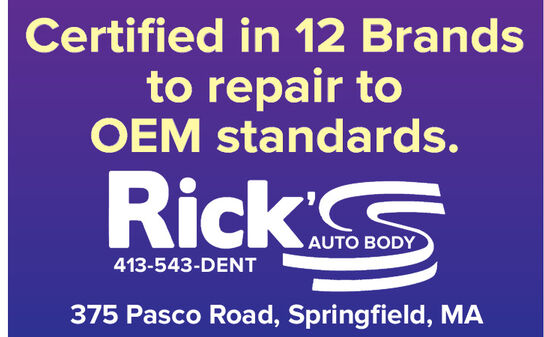 Certified in 12 Brandsto repair toOEM standards.Rick413-543-DENT375 Pasco Road, Springfield, MA Certified in 12 Brands to repair to OEM standards. Rick 413-543-DENT 375 Pasco Road, Springfield, MA