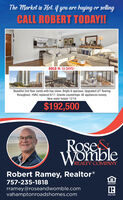 The Market is Hot. if you are buying or sellingCALL ROBERT TODAY!SOLD IN 10 DAYS!Beautiful 2nd floor condo with bay views. Bright & spacious. Upgraded LVT flooringthroughout. HVAC replaced 8/17. Granite countertops. All appliances convey.New water heater 12/19.$192,500RoseWombleREALTY COMPANYRobert Ramey, Realtor®757-235-1818OPFORTUNITYrramey@roseandwomble.comvahamptonroadshomes.comREALTOR The Market is Hot. if you are buying or selling CALL ROBERT TODAY! SOLD IN 10 DAYS! Beautiful 2nd floor condo with bay views. Bright & spacious. Upgraded LVT flooring throughout. HVAC replaced 8/17. Granite countertops. All appliances convey. New water heater 12/19. $192,500 Rose Womble REALTY COMPANY Robert Ramey, Realtor® 757-235-1818 OPFORTUNITY rramey@roseandwomble.com vahamptonroadshomes.com REALTOR