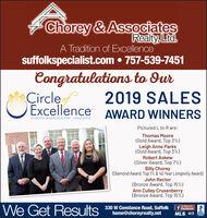Chorey & AssociatesRealty, Ltd.A Tradition of Excellencesuffolkspecialist.com  757-539-7451Congratulations to durCircleExcellence AWARD WINNERS2019 SALESHAMPTON ROADS REALTORS ASSOCIATIONPictured L to R are:Thomas Moore(Gold Award, Top 3%)Leigh Anne Parks(Gold Award, Top 3%)Robert Askew(Silver Award, Top 7%)Billy Chorey(Diamond Award, Top 1% & 40 Year Longevity Award)John Rector(Bronze Award, Top 15%)Ann Culley Crusenberry(Bronze Award, Top 15%)We Get ResultsLike us onFacebook330 W Constance Road, Suffolkhome@choreyrealty.netBBBMLS. OE Chorey & Associates Realty, Ltd. A Tradition of Excellence suffolkspecialist.com  757-539-7451 Congratulations to dur Circle Excellence AWARD WINNERS 2019 SALES HAMPTON ROADS REALTORS ASSOCIATION Pictured L to R are: Thomas Moore (Gold Award, Top 3%) Leigh Anne Parks (Gold Award, Top 3%) Robert Askew (Silver Award, Top 7%) Billy Chorey (Diamond Award, Top 1% & 40 Year Longevity Award) John Rector (Bronze Award, Top 15%) Ann Culley Crusenberry (Bronze Award, Top 15%) We Get Results Like us on Facebook 330 W Constance Road, Suffolk home@choreyrealty.net BBB MLS. OE