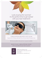 Look amazing this Summer!It's the perfect time to get startedwith your laser treatment!Permanent hair reductionSkin rejuvenationFacial and leg thread veinsPigmentation reductionAcne solutionTattoo removalFungal nail treatmentCONSULTATION AND PATCH TEST £25.00Payable at time of booking, redeemable off your first laser treatment throughout April.We have excellent discounts on courses available.BOOK YOUR CONSULTATION TODAYand say goodbye to your skin concernsTHEBAYThe Bay Laser & Beauty Clinic28 Conway Road, Colwyn Bay LL29 7HTBAY 01492535941www.thebayclinic-colwynbay.co.uk Look amazing this Summer! It's the perfect time to get started with your laser treatment! Permanent hair reduction Skin rejuvenation Facial and leg thread veins Pigmentation reduction Acne solution Tattoo removal Fungal nail treatment CONSULTATION AND PATCH TEST £25.00 Payable at time of booking, redeemable off your first laser treatment throughout April. We have excellent discounts on courses available. BOOK YOUR CONSULTATION TODAY and say goodbye to your skin concerns THE BAY The Bay Laser & Beauty Clinic 28 Conway Road, Colwyn Bay LL29 7HT BAY 01492535941 www.thebayclinic-colwynbay.co.uk