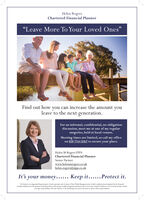 """Helen RogersChartered Financial Planner""""Leave More To Your Loved Ones""""Find out how you can increase the amount youleave to the next generation.For an informal, confidential, no obligationdiscussion, meet me at one of my regularsurgeries, held at local venues.Meeting times are limited, so call my officeon 020 7744 0267 to secure your place.Helen M Rogers FPFSChartered Financial PlannerSenior Partnerwww.helenmrogers.co.ukhelen.rogers@sipp.co.ukIt's your money...... Keep it......Protect it.The Partner is an Appointed Representative of and represents only St. James's Place Wealth Management ple (which is athorised and regulated by the FinancialConduct Authority) for the purpose of advising solely on the Group's weath managenent peoducta and services, more detail of which are set out on the Group's webitewww.sp.co.k/producta. The tide Partner' a the marketing term used to describe St. Jarnen's Place representativen. Helen Rogers Chartered Financial Planner """"Leave More To Your Loved Ones"""" Find out how you can increase the amount you leave to the next generation. For an informal, confidential, no obligation discussion, meet me at one of my regular surgeries, held at local venues. Meeting times are limited, so call my office on 020 7744 0267 to secure your place. Helen M Rogers FPFS Chartered Financial Planner Senior Partner www.helenmrogers.co.uk helen.rogers@sipp.co.uk It's your money...... Keep it......Protect it. The Partner is an Appointed Representative of and represents only St. James's Place Wealth Management ple (which is athorised and regulated by the Financial Conduct Authority) for the purpose of advising solely on the Group's weath managenent peoducta and services, more detail of which are set out on the Group's webite www.sp.co.k/producta. The tide Partner' a the marketing term used to describe St. Jarnen's Place representativen."""