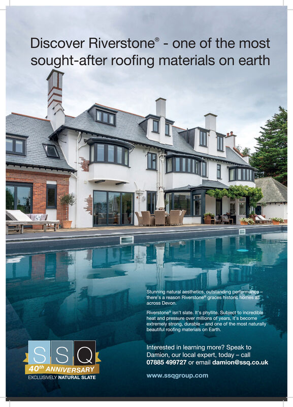 Discover Riverstone - one of the mostsought-after roofing materials on earthStunning natural aesthetics, outstanding performancethere's a reason Riverstone graces historic homes aacross Devon.Riverstone isn't slate. It's phyllite. Subject to incredibleheat and pressure over millions of years, it's becomeextremely strong., durable - and one of the most naturallybeautiful roofing materials on Earth.SSQInterested in learning more? Speak toDamion, our local expert, today - call07885 499727 or email damion@ssq.co.uk40th ANNIVERSARYEXCLUSIVELY NATURAL SLATEwww.ssqgroup.com Discover Riverstone - one of the most sought-after roofing materials on earth Stunning natural aesthetics, outstanding performance there's a reason Riverstone graces historic homes a across Devon. Riverstone isn't slate. It's phyllite. Subject to incredible heat and pressure over millions of years, it's become extremely strong., durable - and one of the most naturally beautiful roofing materials on Earth. SSQ Interested in learning more? Speak to Damion, our local expert, today - call 07885 499727 or email damion@ssq.co.uk 40th ANNIVERSARY EXCLUSIVELY NATURAL SLATE www.ssqgroup.com