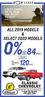 """4 CARESCHEVY CARES.WE'RE HEREAND READYTO HELP.ALL 2019 MODELS&SELECT 2020 MODELS0%-84.APRFORMOS.*PLUSNOPAYMENTSFOR120DRITSDAYS*CLASSICCHEVROLETClassicCorner of M-55 & M-66 Just South of Lake City231-839-7231 www.classicchevymi.com1-800-55-4LESS231-839-7231""""See dealer for details 4 CARES CHEVY CARES. WE'RE HERE AND READY TO HELP. ALL 2019 MODELS & SELECT 2020 MODELS 0%-84. APR FOR MOS.* PLUS NO PAYMENTS FOR 120DRITS DAYS* CLASSIC CHEVROLET Classic Corner of M-55 & M-66 Just South of Lake City 231-839-7231 www.classicchevymi.com 1-800-55-4LESS 231-839-7231 """"See dealer for details"""