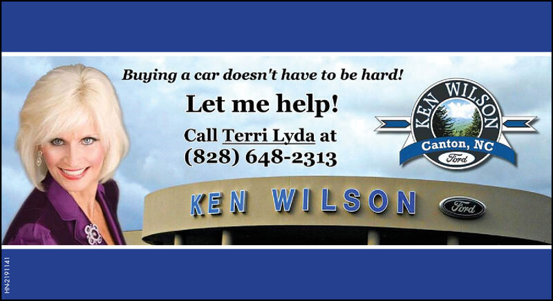 MILSOBuying a car doesn't have to be hard!Let me help!Call Terri Lyda at(828) 648-2313Canton, NCFordWILSONFordKENHN-2187311KEN MILSO Buying a car doesn't have to be hard! Let me help! Call Terri Lyda at (828) 648-2313 Canton, NC Ford WILSON Ford KEN HN-2187311 KEN