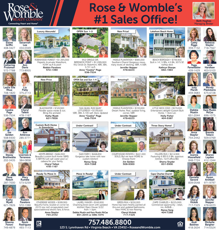 """RoseWombleRose & Womble's#1 Sales Office!REALTY COMPANYBeth HughesManaging BrokerConnecting Heart and HomeLuxury Abounds!OPEN Sun 1-3New Price!Lakefront Beach HomeElaineGriffin408-3427SavannahLee434-0349CathyRiggs359-7132RebeccaStaylor718-7567952 ORIOLE DRBIRDNECK POINT  $1,099,000952 Oriole Dr. Waterfront. 4BR, 38A,3.731 saft.Anne """"Cookie"""" Page536-7534MIDDLE PLANTATION  5985,000Southern Charml Gorgeous views,many levels of decking. 5BR, 4.5BAJennifer Nopper478-6223ROBINHOOD FOREST · $1.395.000Majestic & private Waterfront,4294 sq ft & poolBEACH BOROUGH  S799.900Built in 14', 5 BRS, 4.5 BA, 3075 SF.rooftop deckCatheringPrutsmanAnnDavisKathryn Sharpe692-1964PeggyPannenbacker439-1429JulieHarshawRobbin Favaloro572-1390572-7788773-8955403-5103New PriceOPEN Sat and Sun 1-4Amazing!!Gorgeous!Leslie ElleRhue708-1820LizPatty375-2113JudyMarh459-3683WendyPlemmons675-6728BLACKWATER  $749.900Flexible space inside & out.Bring the animals!Kathy Wyatt621-7826946 QUAIL RUN QUAYLITTLENECK  $739,0005BR, 3BA, 4,100 sqft. Dock, UpdatedAnne """"Cookie"""" Page536-7534UTTLE NECK COVE  5579,000Entertainers delight Custom BuiltHome. 1 Acre Lot.Holly FisherMIDDLE PLANTATION  $720,000CookiePage536-7534CherylTalbótDream Home. Pool, outdoor living.coner, 5BRDebbieMustinKara MustinMcCaa478-1167651-2044696-1075Jennifer Nopper478-6223404-5387Custom Built HomeUnder Contract!Under ContractThree Story HomelIn GreenbrierJimGoldenAnnaStaylor754-2442BrendaTokarzAnnAmbrose508-9300285-3771509-0769MILLERS RUN  $414,900Featuring 6 BD/3.5 BA. spaciouskitchen, 1st fl office/BD.KEMPS BRIDGE  $484,900Beautiful custom built home 5BRS3.5BTHS lush salt water pool w/cabana for your family.Cheryl Talbot478-1167SAIO FARM  $468,850Gorgeous lake home with newcustom kitchenNancy Sorg404-7268COURTHOUSE ESTATES · $441.000StaceyBraithwaite202-3435Livernois &TerranovaSOLD, But we have MORE toChoose from!JoanneMoorefieldSharonLayden412-1044384-0858848-7724Jim Golden508-9300Sherry Snyder831-5500Ready To Move InMove In Ready!Under C"""