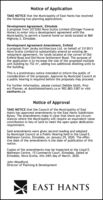 Notice of ApplicationTAKE NOTICE that the Municipality of East Hants has receivedthe following two planning applications:Development Agreement, ElmsdaleA proposal from 3273265 Nova Scotia Limited (Ettinger FuneralHome) to enter into a development agreement with theMunicípality to permit a funeral home on lands located at 860Highway 2, Elmsdale.Development Agreement Amendment, EnfieldA proposal from Jarsky Architecture Ltd. on behalf of 3313013Nova Scotia Limited to substantially amend an existing de-velopment agreement, for lands located at the corner of OldEnfield Road and Old Horne Settlement Road. The purpose ofthe application is to increase the size of the proposed multipleunit building by 152 m², adding two additional dwelling units tothe building.This is a preliminary notice intended to inform the public ofconsideration of the proposals. Approval by Municipal Council ata public hearing is required before the proposals may proceed.For further information, please contact Debbie Uloth, Proj-ect Planner, at duloth@easthants.ca or 902.883-3387 or vísiteasthants.ca.Notice of ApprovalTAKE NOTICE that the Council of the Municipality of EastHants has approved amendments to the East Hants SubdivisionBylaw. The amendments make it clear that there are circum-stances where the Municipality will require an equivalent valuecontribution in lieu of land to meet the open space dedicationrequirement.Said amendments were given second reading and adoptedby Municipal Council at a Public Hearing held in the Lloyd E.Matheson Centre, Elmsdale, on January 29, 2020. The effec-tive date of the amendments is the date of publication of thisnotice.Copies of the amendments may be inspected at the Lloyd E.Matheson Centre, 15 Commerce Court, Elmsdale. Dated atElmsdale, Nova Scotia, this 24th day of March, 2020.John Woodford,Director of Planning & DevelopmentEAST HANTS Notice of Application TAKE NOTICE that the Municipality of East Hants has received the following two planning applications: Dev