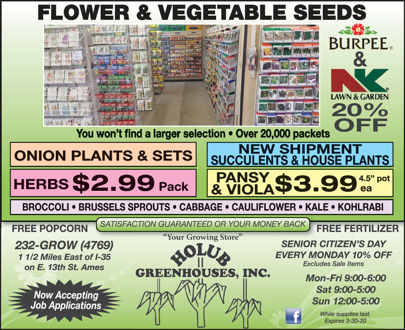 """FLOWER & VEGETABLE SEEDSBURPEE.&TetitiLAWN & GARDEN20%OFFYou won't find a larger selection  Over 20,000 packetsNEW SHIPMENTSUCCULENTS & HOUSE PLANTSPANSYONION PLANTS & SETSHERBS $2.99 Pack4.5"""" pot& VIOLA$3.99eaBROCCOLI  BRUSSELS SPROUTS CABBAGE  CAULIFLOWER  KALE  KOHLRABISATISFACTION GUARANTEED OR YOUR MONEY BACKFREE POPCORNFREE FERTILIZER""""Your Growing Store""""232-GROW (4769)11/2 Miles East of I-35on E. 13th St. AmesSENIOR CITIZEN'S DAYHOLUBGREENHOUSES, INC.EVERY MONDAY 10% OFFExcludes Sale ItemsMon-Fri 9:00-6:00Sat 9:00-5:00Now AcceptingJob Applications.Sun 12:00-5:00While supplies last.Expires 3-30-20 FLOWER & VEGETABLE SEEDS BURPEE. & Tetiti LAWN & GARDEN 20% OFF You won't find a larger selection  Over 20,000 packets NEW SHIPMENT SUCCULENTS & HOUSE PLANTS PANSY ONION PLANTS & SETS HERBS $2.99 Pack 4.5"""" pot & VIOLA$3.99 ea BROCCOLI  BRUSSELS SPROUTS CABBAGE  CAULIFLOWER  KALE  KOHLRABI SATISFACTION GUARANTEED OR YOUR MONEY BACK FREE POPCORN FREE FERTILIZER """"Your Growing Store"""" 232-GROW (4769) 11/2 Miles East of I-35 on E. 13th St. Ames SENIOR CITIZEN'S DAY HOLUB GREENHOUSES, INC. EVERY MONDAY 10% OFF Excludes Sale Items Mon-Fri 9:00-6:00 Sat 9:00-5:00 Now Accepting Job Applications. Sun 12:00-5:00 While supplies last. Expires 3-30-20"""