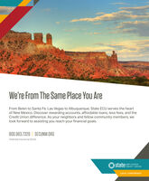 We're From The Same Place You AreFrom Belen to Santa Fe, Las Vegas to Albuquerque; State ECU serves the heartof New Mexico. Discover rewarding accounts, affordable loans, less fees, and theCredit Union difference. As your neighbors and fellow community members, welook forward to assisting you reach your financial goals.800.983.7328 | SECUNM.ORGFederally Insured by NCUA.state MPLOYEESCREDIT UNIONLOCAL CONFIDENCE We're From The Same Place You Are From Belen to Santa Fe, Las Vegas to Albuquerque; State ECU serves the heart of New Mexico. Discover rewarding accounts, affordable loans, less fees, and the Credit Union difference. As your neighbors and fellow community members, we look forward to assisting you reach your financial goals. 800.983.7328 | SECUNM.ORG Federally Insured by NCUA. state MPLOYEES CREDIT UNION LOCAL CONFIDENCE