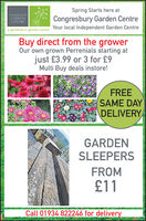 Spring Starts here atCONGRESJURYGARDENCENTRECongresbury Garden CentreYour local Independent Garden Centrea gardener's garden centreBuy direct from the growerOur own grown Perrenials starting atjust £3.99 or 3 for £9Multi Buy deals instore!FREESAME DAYDELIVERYGARDENSLEEPERSFROM£11Call 01934 822246 for delivery Spring Starts here at CONGRESJURY GARDEN CENTRE Congresbury Garden Centre Your local Independent Garden Centre a gardener's garden centre Buy direct from the grower Our own grown Perrenials starting at just £3.99 or 3 for £9 Multi Buy deals instore! FREE SAME DAY DELIVERY GARDEN SLEEPERS FROM £11 Call 01934 822246 for delivery