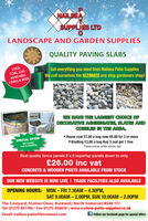 NAILSEASUPPLIES LTDLANDSCAPE AND GARDEN SUPPLIESQUALITY PAVING SLABSLOGS,Get everything you need from Nailsea Patio SuppliesWe call ourselves the ULTIMATE one stop gardeners shop!COAL, GASAVAILABLE7 DAYS A WEEKWE HAVE THE LARGEST CHOICE OFDECORATIVE AGGREGATES, SLATES ANDMeCOBBLES IN THE AREA.SPECIAL OFFER House coal £7.00 a bag now £6.00 for 3 or more Kindling £3.00 a bag Buy 3 and get 1 freethe housecoal & kindlingThese prices while stocks lastBest quality fence panels 6 x 6 superlap panels down to only£26.00 inc vatCONCRETE & WOODEN POSTS AVAILABLE FROM STOCKOUR NEW WEBSITE IS NOW LIVE I TRADE FACILITIES ALSO AVAILABLEOPENING HOURS: MON  FRI 7.30AM - 4.30PM,SAT 9.00AM  2.00OPM, SUN 10.00AM 2.00PMThe Coalyard, Station Close, Backwell, North Somerset BS48 1TJTel: 01275 851706 / Fax 01275 856616 | www.nailsea-patio-supplies.co.ukEmail: nailsea-patio@btconnect.comf Follow our facebook page for special offers NAILSEA SUPPLIES LTD LANDSCAPE AND GARDEN SUPPLIES QUALITY PAVING SLABS LOGS, Get everything you need from Nailsea Patio Supplies We call ourselves the ULTIMATE one stop gardeners shop! COAL, GAS AVAILABLE 7 DAYS A WEEK WE HAVE THE LARGEST CHOICE OF DECORATIVE AGGREGATES, SLATES AND Me COBBLES IN THE AREA. SPECIAL OFFER  House coal £7.00 a bag now £6.00 for 3 or more  Kindling £3.00 a bag Buy 3 and get 1 free the house coal & kindling These prices while stocks last Best quality fence panels 6 x 6 superlap panels down to only £26.00 inc vat CONCRETE & WOODEN POSTS AVAILABLE FROM STOCK OUR NEW WEBSITE IS NOW LIVE I TRADE FACILITIES ALSO AVAILABLE OPENING HOURS: MON  FRI 7.30AM - 4.30PM, SAT 9.00AM  2.00OPM, SUN 10.00AM 2.00PM The Coalyard, Station Close, Backwell, North Somerset BS48 1TJ Tel: 01275 851706 / Fax 01275 856616 | www.nailsea-patio-supplies.co.uk Email: nailsea-patio@btconnect.com f Follow our facebook page for special offers