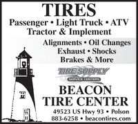 TIRESPassenger  Light Truck  ATVTractor & ImplementAlignments  Oil ChangesExhaust  ShocksBrakes & MoreTIRESUPPLYSERVICE CENTERSBEACONTIRE CENTER49523 US Hwy 93  Polson883-6258  beacontires.com TIRES Passenger  Light Truck  ATV Tractor & Implement Alignments  Oil Changes Exhaust  Shocks Brakes & More TIRESUPPLY SERVICE CENTERS BEACON TIRE CENTER 49523 US Hwy 93  Polson 883-6258  beacontires.com