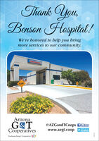 "Thank You,BensonHaspital !We're honored to help you bringmore services to our community.EMERGENCYSLOWArizonaG&TCooperativesusgn@AZGandTCoops facebookwww.azgt.coopfollow us ontwitterTouchstone Energy"" Cooperatives Thank You, Benson Haspital ! We're honored to help you bring more services to our community. EMERGENCY SLOW Arizona G&T Cooperatives usgn @AZGandTCoops facebook www.azgt.coop follow us on twitter Touchstone Energy"" Cooperatives"