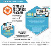 "LOCALIQ New EnglandCUSTOMERASSISTANCEPROGRAMMarketingChe Enterprisefirefighterof Masters2.40FREEfor localbusinesses.Multimedia Advertising Packages*to enhance your communication with thepublic. Communicate the status of yourbusiness and how your industry istaking the necessary safetymeasures to serve your customers.Teleconference*10k digital impressions served across regional and Wicked Localsites and (2) 3 column x 5"" B/W print ads in thedaily/weekly title of your choice.""Based on inventory availability.""Promotional space applies to newor incremental schedules only.Offer expires on April 5, 2020FREEIf you are interestedin participating in aLOCALQCONSUMER ASSISTANCE PROGRAM,please contact your localmultimedia sales representative or register atVideo ConferenceConsultationNECUSTOMERASSISTANCE.COMCAPE COD TIMES The Enterprise foster's Daily Democrat The Herald News METROWESTMILFORDDAILY NEWS DÂILY NEWS The Newport Daily NewsThe Patriot Ledger PortsmouthHerald Jõurnal The Standard-TimesTAUNTON DAILY GAZETTE TELEGRAM&GAZETTE WICKEDLOCALtelegram.com LOCALIQ New England CUSTOMER ASSISTANCE PROGRAM Marketing Che Enterprise firefighter of Masters 2.40 FREE for local businesses. Multimedia Advertising Packages* to enhance your communication with the public. Communicate the status of your business and how your industry is taking the necessary safety measures to serve your customers. Teleconference *10k digital impressions served across regional and Wicked Local sites and (2) 3 column x 5"" B/W print ads in the daily/weekly title of your choice. ""Based on inventory availability. ""Promotional space applies to new or incremental schedules only. Offer expires on April 5, 2020 FREE If you are interested in participating in a LOCALQ CONSUMER ASSISTANCE PROGRAM, please contact your local multimedia sales representative or register at Video Conference Consultation NECUSTOMERASSISTANCE.COM CAPE COD TIMES The Enterprise foster's Daily Democrat The Herald News METROWEST MILFORD DAILY NEWS DÂILY NEWS The Newport Daily News The Patriot Ledger PortsmouthHerald Jõurnal The Standard-Times TAUNTON DAILY GAZETTE TELEGRAM&GAZETTE WICKEDLOCAL telegram.com"