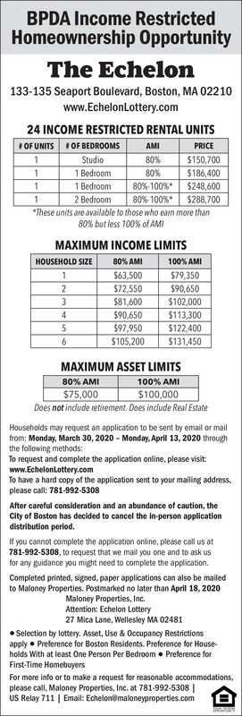 BPDA Income RestrictedHomeownership OpportunityThe Echelon133-135 Seaport Boulevard, Boston, MA 02210www.EchelonLottery.com24 INCOME RESTRICTED RENTAL UNITSI OF UNITSI OF BEDROOMSAMIPRICEStudio80%$150,7001 Bedroom80%$186,4001 Bedroom80%-100%*$248,6002 Bedroom80%-100%*$288,700*These units are available to those who earn more than80% but less 100% of AMIMAXIMUM INCOME LIMITSHOUSEHOLD SIZE80% AMI100% AMI$63,500$72,550$79,350$90,6501$81,600$102,000$90,650$97,950$105,2004.$113,300$122,400$131,4506.MAXIMUM ASSET LIMITS80% AMI100% AMI$100,000Does not indude retirement. Does include Real Estate$75,000Households may request an application to be sent by email or mailfrom: Monday, March 30, 2020 - Monday, April 13, 2020 throughthe following methods:To request and complete the application online, please visitwww.EchelonLottery.comTo have a hard copy of the application sent to your mailing address,please call: 781-992-5308After careful consideration and an abundance of caution, theCity of Boston has decided to cancel the in-person applicationdistribution period.If you cannot complete the application online, please call us at781-992-5308, to request that we mail you one and to ask usfor any guidance you might need to complete the application.Completed printed, signed, paper applications can also be mailedto Maloney Properties. Postmarked no later than April 18, 2020Maloney Properties, Inc.Attention: Echelon Lottery27 Mica Lane, Wellesley MA 02481 Selection by lottery. Asset, Use & Occupancy Restrictionsapply  Preference for Boston Residents. Preference for House-holds With at least One Person Per Bedroom  Preference forFirst-Time HomebuyersFor more info or to make a request for reasonable accommodations,please call, Maloney Properties, Inc. at 781-992-5308 |US Relay 711 | Email: Echelon@maloneyproperties.com BPDA Income Restricted Homeownership Opportunity The Echelon 133-135 Seaport Boulevard, Boston, MA 02210 www.EchelonLottery.com 24 INCOME RESTRICTED RENTAL UNITS I OF UNITS I