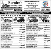 License135Bernier's EXPERT COLLISION REPAIRECALL &2019READERSCHOICETHEState-Of-The-ArtColor Matching SystemAuto Body & SalesYOU HAVE THE RIGHT TO CHOOSE YOUR BODY SHOP100% Satisfaction INSURANCE CLAIMInsurance WorkVOTED BESTWelding  Frame Straightening BODY SHOPCHIEFFREE LOANER CARS AVAILABLE 2016, 2017, 2018 & 2019GuaranteePROCESSINGBODY SHOP 401-762-5252 | 620 Pond Street, Woonsocket, RIwww.BerniersAutoBodyRI.comAUTO SALES 401-762-1040 | 620 Pond Street, Woonsocket, RIwww.BerniersAuto.comPRICES SLAS HED NO REASONABLE OFFER REFUSED!All vehicles leave with a state inspection and an in-house warranty2008 HYUNDAI ELANTRA2009 KIA SPORTAGE2011 KIA FORTE EX2009 JEEP WRANGLER X 4x4$5,905-$5,495$6,995-$6,495S19,405$12,495SOLD1 owner, must see, blue07 FORD FOCUS LXMust see, looks & runs greatHatch back, must see09 TOYOTA COROLLA S95 $4,495 Sun roof, must see, looks & runs great .05 HYUNDAI TUCSON V6o105 $5,995 Auto, looks & runs great, 1 owner, black.Low miles, mint condition, must seeLow miles, must see..09 CHEVROLET HHR$6,995Low miles, must se..$6,496 $5,99506 LINCOLN TOWN CARMust see, looks & runs great.05 HYUNDAI SONATAAuto, sun roof, must see..11 CHEVY TRAVERSE LT 4X4Must see, looks & runs great..10 FORD EDGE LTD10 CHRYSLER TOWN & COUNTRY5,905 SOLD Must see, looks & runs great, leather, loaded.$7,99507 CHEVY TRAILBLAZER LS5 SOLD Must see, looks & runs great.36,496 $5,99512 MITSUBISHI GALANT$9,995 Looks & runs great.$6,995 $6,49511 HYUNDAI ELANTRA WAGON TOURINGLoaded, must see.405 $7,995 1 owner, must see, looks & runs great.07 PONTIAC G6$6,995 Looks & runs great, must see.10 FORD ESCAPE$6,995 Must see, looks & runs great..08 CHEVROLET IMPALA$6,996 $6,49510 TOYOTA COROLLA LELooks & runs great, tan.07 YOA CAMERMust see, looks & runs great..12 CHEVROLET MALIBULooks & runs great .08 HYUNDAI ACCENTLow miles, looks & runs great.07 KIA SORENTOLooks & runs great, blue.496 $4,995SOLD$6,495 Looks & runs great .$6,996 $6,49508 HYUNDAI ELANTRA05 SOLD Black, low miles, one owner..$5,49510 HYUNDAI ELANTRA$6,495 Silver, must see, low miles. .$5,995......TIMES License135 Bernier's EXPERT COLLISION REPAIR E CALL & 2019 READERS CHOICE THE State-Of-The-Art Color Matching System Auto Body & Sales YOU HAVE THE RIGHT TO CHOOSE YOUR BODY SHOP 100% Satisfaction INSURANCE CLAIM Insurance Work VOTED BEST Welding  Frame Straightening BODY SHOP CHIEF FREE LOANER CARS AVAILABLE 2016, 2017, 2018 & 2019 Guarantee PROCESSING BODY SHOP 401-762-5252 | 620 Pond Street, Woonsocket, RI www.BerniersAutoBodyRI.com AUTO SALES 401-762-1040 | 620 Pond Street, Woonsocket, RI www.BerniersAuto.com PRICES SLAS HED NO REASONABLE OFFER REFUSED! All vehicles leave with a state inspection and an in-house warranty 2008 HYUNDAI ELANTRA 2009 KIA SPORTAGE 2011 KIA FORTE EX 2009 JEEP WRANGLER X 4x4 $5,905- $5,495 $6,995- $6,495 S19,405 $12,495 SOLD 1 owner, must see, blue 07 FORD FOCUS LX Must see, looks & runs great Hatch back, must see 09 TOYOTA COROLLA S 95 $4,495 Sun roof, must see, looks & runs great . 05 HYUNDAI TUCSON V6 o105 $5,995 Auto, looks & runs great, 1 owner, black. Low miles, mint condition, must see Low miles, must see.. 09 CHEVROLET HHR $6,995 Low miles, must se.. $6,496 $5,995 06 LINCOLN TOWN CAR Must see, looks & runs great. 05 HYUNDAI SONATA Auto, sun roof, must see.. 11 CHEVY TRAVERSE LT 4X4 Must see, looks & runs great.. 10 FORD EDGE LTD 10 CHRYSLER TOWN & COUNTRY 5,905 SOLD Must see, looks & runs great, leather, loaded. $7,995 07 CHEVY TRAILBLAZER LS 5 SOLD Must see, looks & runs great. 36,496 $5,995 12 MITSUBISHI GALANT $9,995 Looks & runs great. $6,995 $6,495 11 HYUNDAI ELANTRA WAGON TOURING Loaded, must see. 405 $7,995 1 owner, must see, looks & runs great. 07 PONTIAC G6 $6,995 Looks & runs great, must see. 10 FORD ESCAPE $6,995 Must see, looks & runs great.. 08 CHEVROLET IMPALA $6,996 $6,495 10 TOYOTA COROLLA LE Looks & runs great, tan. 07 YOA CAMER Must see, looks & runs great.. 12 CHEVROLET MALIBU Looks & runs great . 08 HYUNDAI ACCENT Low miles, looks & runs great. 07 KIA SORENTO Looks & runs great, blue. 496 $4,995 SOLD $6,495 Looks & runs great . $6,996 $6,495 08 HYUNDAI ELANTRA 05 SOLD Black, low miles, one owner.. $5,495 10 HYUNDAI ELANTRA $6,495 Silver, must see, low miles. . $5,995 ...... TIMES