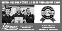 THANK YOU FOR VOTING US BEST AUTO REPAIR SHOPAWARDREADER'S CHPARIS NEWSeb 24COOLINGTHEurechAUTORANSASince 1995*2020ACeekaPrecision AutoPARIS NEWS25 Years in Business.2675 N. MAIN PARIS, TXrecisionOver 90,000 Repairs.We couldn't do it without you!903-784-7362AUTOMOTIVE& TRANSMISSIONwww.PRECISIONPARIS.COM THANK YOU FOR VOTING US BEST AUTO REPAIR SHOP AWARD READER'S CH PARIS NEWS eb 24 COOLING THE urech AUTO RANSA Since 1995 *2020 ACeeka Precision Auto PARIS NEWS 25 Years in Business. 2675 N. MAIN PARIS, TX recision Over 90,000 Repairs. We couldn't do it without you! 903-784-7362 AUTOMOTIVE & TRANSMISSION www.PRECISIONPARIS.COM
