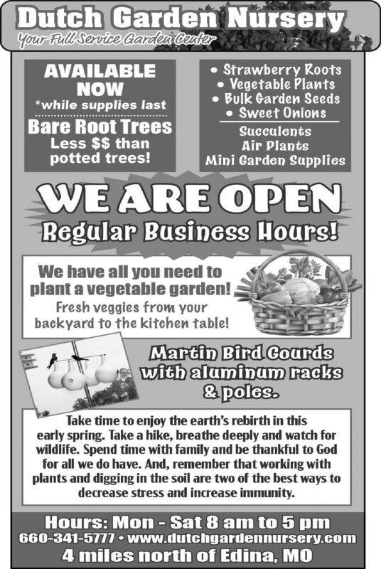 Dutch Garden NurseryYour Full Service Garden CeuterAVAILABLENOW*while supplies last Strawberry Roots Vegetable Plants Bulk Garden Seeds Sweet OnionsBare Root TreesLess $$ thanpotted trees!SucculentsAir PlantsMini Garden SuppliesWE ARE OPENRegular Business Hours!We have all you need toplant a vegetable garden!Fresh veggies from yourbackyard to the kitchen table!Martin Bird Courdswith aluminum racks& poles.Take time to enjoy the earth's rebirth in thisearly spring. Take a hike, breathe deeply and watch forwildlife. Spend time with family and be thankful to Godfor all we do have. And, remember that working withplants and digging in the soil are two of the best ways todecrease stress and increase immunity.Hours: Mon-Sat 8 am to 5 pm660-341-5777 www.dutchgardennursery.com4 miles north of Edina, MO Dutch Garden Nursery Your Full Service Garden Ceuter AVAILABLE NOW *while supplies last  Strawberry Roots  Vegetable Plants  Bulk Garden Seeds  Sweet Onions Bare Root Trees Less $$ than potted trees! Succulents Air Plants Mini Garden Supplies WE ARE OPEN Regular Business Hours! We have all you need to plant a vegetable garden! Fresh veggies from your backyard to the kitchen table! Martin Bird Courds with aluminum racks & poles. Take time to enjoy the earth's rebirth in this early spring. Take a hike, breathe deeply and watch for wildlife. Spend time with family and be thankful to God for all we do have. And, remember that working with plants and digging in the soil are two of the best ways to decrease stress and increase immunity. Hours: Mon-Sat 8 am to 5 pm 660-341-5777 www.dutchgardennursery.com 4 miles north of Edina, MO