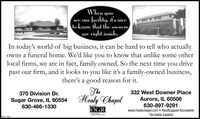 Whenyoufacility, it's niceto know that the ownersare right inside.see ourIn today's world of big business, it can be hard to tell who actuallyowns a funeral home. We'd like you to know that unlike some otherlocal firms, we are in fact, family owned. So the next time you drivepast our firm, and it looks to you like it's a family-owned business,there's a good reason for it.The370 Division Dr.332 West Downer PlaceSugar Grove, IL 60554 Healy Chapel630-466-1330Aurora, IL 60506630-897-9291www.healychapel.com  Handicapped Accessible*Se Habla EspañolMemberØGRTHE VOICESM-CLETBO0 When you facility, it's nice to know that the owners are right inside. see our In today's world of big business, it can be hard to tell who actually owns a funeral home. We'd like you to know that unlike some other local firms, we are in fact, family owned. So the next time you drive past our firm, and it looks to you like it's a family-owned business, there's a good reason for it. The 370 Division Dr. 332 West Downer Place Sugar Grove, IL 60554 Healy Chapel 630-466-1330 Aurora, IL 60506 630-897-9291 www.healychapel.com  Handicapped Accessible *Se Habla Español Member ØGR THE VOICE SM-CLETBO0