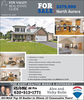 "FOX VALLEYREAL ESTATEGUIDEFOR $279,900SALENorth AuroraMARCH 26, 20204 Bedrooms, 2 ½ Baths 2-story Foyer Kitchen w/Quartz Counters, Hdwds, Walk-out Bay Family Room w/Hdwds & Brick Fireplace Formal Living & Dining Rooms Cathedral Master w/Luxury Bath Finished Basement Yard w/Deck & Shed Perfect Move-In Condition!To view all photos & listing detail, Text RBFCLLZ to 52187""THE RIGHT REALTOR MAKES A DIFFERENCE""REMAX All ProAlex andRE/MAX630 513 1771rullos@rullos.com  www.therulloteam.comVicky RulloRE/MAX Top 20 Realtor in Illinois 23 Consecutive Years! FOX VALLEY REAL ESTATE GUIDE FOR $279,900 SALE North Aurora MARCH 26, 2020 4 Bedrooms, 2 ½ Baths  2-story Foyer  Kitchen w/Quartz Counters, Hdwds, Walk-out Bay  Family Room w/Hdwds & Brick Fireplace  Formal Living & Dining Rooms  Cathedral Master w/Luxury Bath  Finished Basement  Yard w/Deck & Shed  Perfect Move-In Condition! To view all photos & listing detail, Text RBFCLLZ to 52187 ""THE RIGHT REALTOR MAKES A DIFFERENCE"" REMAX All Pro Alex and RE/MAX 630 513 1771 rullos@rullos.com  www.therulloteam.com Vicky Rullo RE/MAX Top 20 Realtor in Illinois 23 Consecutive Years!"