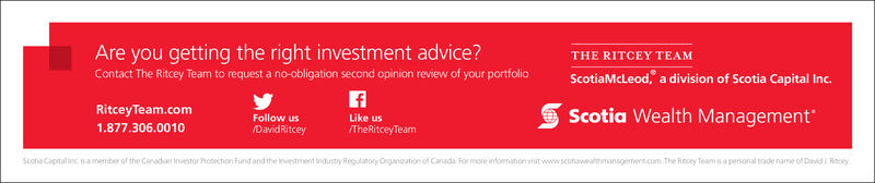 A team approach to wealth managementFor over 25 years, The Ritcey Team has been helping clients secure their futureTHE RITCEY TEAMScotiaMcLeod, a division of Scotia Capital Inc.RitceyTeam.com1.877.306.0010Follow usDavidRitceyLike us/TheRitceyTeamScotia Wealth ManagementScotia Capitalinc sameniber of the Caradan investor Protection Fund and the investementindustry Regulinory Organzation of Canada. For more infomation vist www.sconawatmanagement.com. The Recey Teamsa persoral trade name of Davdi Riecey A team approach to wealth management For over 25 years, The Ritcey Team has been helping clients secure their future THE RITCEY TEAM ScotiaMcLeod, a division of Scotia Capital Inc. RitceyTeam.com 1.877.306.0010 Follow us DavidRitcey Like us /TheRitceyTeam Scotia Wealth Management Scotia Capitalinc sameniber of the Caradan investor Protection Fund and the investementindustry Regulinory Organzation of Canada. For more infomation vist www.sconawatmanagement.com. The Recey Teamsa persoral trade name of Davdi Riecey