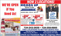 NOW 2 LOCATIONS!WE'RE OPEN HOODS UPif YouQuick Lube*NO APPOINTMENT OIL CHANGEHOURS: MON - FRI 9-5 SAT 9-3Need Us!NOW OPENHOODS UPCOUPONCOUPON$500 off $1000 offQuick LubeAPPOTT CBEACON SUPPLY CO. INC. Full Service Oil Changej.Plumbing Heating  Air ConditioningPa State Inspection &iEmmissions Testilndudes. Up To 5 Ots. MOTOR OL  New Ol FiterLubricate Chassis Check And FIL. Wsher Fud.Tatemission Fuid. Tre Pressure. Power SteringRuid.A Freeze & Gear BonesWe WiI Also Check Your Ar Fiter,|Cabin Fite, Lights And BatteryCoupon Expires 531/20Owner Gary Koteleswith family.Gary took over the ownership ofDuke of Oil in Fisher Heights and thisacquisition makes it his nd location.OALPIOCertified & ExperiencedTechniciansATIONVisit our Showroom of Bath & Kitchen DisplaysFast Prompt ServiceDUKEor OILNo Appointment NecessaryCoupon Expires S31/20Drive Thru Service! No Appointment Needed724-243-3659 724-258-8885TWO LOCATIONS TO BETTER SERVE YOU!1304 Country Club Rd.Monongahela, PA 15063Check our Facebook Page for ongoing offers1640 Broad Ave.724-929-6600  FAX 724-929-7601Mon-Fri: 7:30AM - 5PM  Sat: 7:30AM - NO0ON  Closed SundayBelle Vernon, PA 15012CASHwww.beaconsupplyinc.com1125 Broad Avenue, Belle Vernon, PA 15012 NOW 2 LOCATIONS! WE'RE OPEN HOODS UP if You Quick Lube *NO APPOINTMENT OIL CHANGE HOURS: MON - FRI 9-5 SAT 9-3 Need Us! NOW OPEN HOODS UP COUPON COUPON $500 off $1000 off Quick Lube APPOTT C BEACON SUPPLY CO. INC. Full Service Oil Changej. Plumbing Heating  Air Conditioning Pa State Inspection &i Emmissions Testi lndudes. Up To 5 Ots. MOTOR OL  New Ol Fiter Lubricate Chassis Check And FIL. Wsher Fud. Tatemission Fuid. Tre Pressure. Power Stering Ruid.A Freeze & Gear Bones We WiI Also Check Your Ar Fiter, |Cabin Fite, Lights And Battery Coupon Expires 531/20 Owner Gary Koteles with family. Gary took over the ownership of Duke of Oil in Fisher Heights and this acquisition makes it his nd location. OAL PIO Certified & Experienced Technicians ATION Visit our Showroom of Bath & Kitchen Displays Fast Prompt Service DUKE or OIL No Appointment Necessary Coupon Expires S31/20 Drive Thru Service! No Appointment Needed 724-243-3659 724-258-8885 TWO LOCATIONS TO BETTER SERVE YOU! 1304 Country Club Rd. Monongahela, PA 15063 Check our Facebook Page for ongoing offers 1640 Broad Ave. 724-929-6600  FAX 724-929-7601 Mon-Fri: 7:30AM - 5PM  Sat: 7:30AM - NO0ON  Closed Sunday Belle Vernon, PA 15012 CASH www.beaconsupplyinc.com 1125 Broad Avenue, Belle Vernon, PA 15012