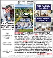 William Sotheby'sPittINTERNATIONAL REALTYRECENTLY SOLD:Units 7,9 & 1125 SheffieldOld SaybrookUnder Contract:Units 6 & 1Rick WeinerBroker Associate860.227.3191rweiner@wpsir.com25 SHEFFIELD FINAL STAGE UNDERWAY! TIME TO PICK YOURTop 10Company-WideCT, MA, NYFINISHES NOW! The only Spacious NEW luxury town homes in theheart of historic Old Saybrook. 25 SHEFFIELD lies footsteps from firstclass restaurants, fitness and medical facilities, spa services, town hall,Katharine Hepburn Cultural Arts Center, grocery, shops and more. Eachunit offers over 2,100 SF of quality finishes and fine architectural detail.First floor master bedroom suites with vaulted ceilings, masterbaths with dual sinks, whirlpool tubs, separate spacious showers andheated flooring. First floor laundry. Fabulous open concept floor planwith hardwood flooring, gas fireplace and dream kitchen with the finestin cabinetry and appliances. 2nd level bedroom plus office loft area,walk-in closet and perfectly executed guest bath. Full basements withhigh ceilings. One car attached garage plus guest parking.2019$625,000,000in Sales Since 1997Licensed Real Estate BrokerConnecticut · New YorkHawaiifrom $579,900 - $599,900ESSEX BROKERAGE | 13 MAIN STREET | 860.767.7488 | OLD LYME | BROKERAGE | 103 HALLS ROAD | 860.434.240065 COUNTRIES | 20.000 SALES ASSOCIATES | 850 OFFICES | ESSEX | MANHATTAN | BEIJING | OLD LYME | PARIS | HAWAIIEach Office is Independently Owned and Operated. Equal Housing Opportunity. William Sotheby's Pitt INTERNATIONAL REALTY RECENTLY SOLD: Units 7,9 & 11 25 Sheffield Old Saybrook Under Contract: Units 6 & 1 Rick Weiner Broker Associate 860.227.3191 rweiner@wpsir.com 25 SHEFFIELD FINAL STAGE UNDERWAY! TIME TO PICK YOUR Top 10 Company-Wide CT, MA, NY FINISHES NOW! The only Spacious NEW luxury town homes in the heart of historic Old Saybrook. 25 SHEFFIELD lies footsteps from first class restaurants, fitness and medical facilities, spa services, town hall, Katharine Hepburn Cultural Arts Center, grocery, shops and more. Each unit offers over 2,100 SF of quality finishes and fine architectural detail. First floor master bedroom suites with vaulted ceilings, master baths with dual sinks, whirlpool tubs, separate spacious showers and heated flooring. First floor laundry. Fabulous open concept floor plan with hardwood flooring, gas fireplace and dream kitchen with the finest in cabinetry and appliances. 2nd level bedroom plus office loft area, walk-in closet and perfectly executed guest bath. Full basements with high ceilings. One car attached garage plus guest parking. 2019 $625,000,000 in Sales Since 1997 Licensed Real Estate Broker Connecticut · New York Hawaii from $579,900 - $599,900 ESSEX BROKERAGE | 13 MAIN STREET | 860.767.7488 | OLD LYME | BROKERAGE | 103 HALLS ROAD | 860.434.2400 65 COUNTRIES | 20.000 SALES ASSOCIATES | 850 OFFICES | ESSEX | MANHATTAN | BEIJING | OLD LYME | PARIS | HAWAII Each Office is Independently Owned and Operated. Equal Housing Opportunity.