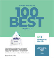 """ONE OF AMERICA'S100BESTHOSPITALS""""AMERICA'S100 BestHOSPITALSMiddlesexHealthhealthgrodesMAYO CLINICCARE NETWORKExceptional patient outcomes and the highest-qualitycare. It's why Middlesex Health is the only Connecticuthospital ranked in the country's top 2% by Healthgradesin 2020. And it's another reason we were chosen to beConnecticut's connection to the Mayo Clinic Care Network.MemberMiddlesexHealth.org/best ONE OF AMERICA'S 100 BEST HOSPITALS"""" AMERICA'S 100 Best HOSPITALS Middlesex Health healthgrodes MAYO CLINIC CARE NETWORK Exceptional patient outcomes and the highest-quality care. It's why Middlesex Health is the only Connecticut hospital ranked in the country's top 2% by Healthgrades in 2020. And it's another reason we were chosen to be Connecticut's connection to the Mayo Clinic Care Network. Member MiddlesexHealth.org/best"""