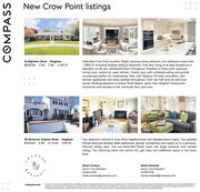 New Crow Point listings16 Highview Drive Hingham$899,000 3 BD 2 BA 2,700 SFDesirable Crow Point location! Bright, spacious three bedroom, two bathroom home with- 2800 SF including finished walkout basement. One floor living at its best located on abeautiful cul-de-sac. Hardwood floors throughout, fireplace in living room, spaciousdining room, central air, open kitchen / family room with cathedral ceiling and granitecountertops perfect for entertaining. New roof, fabulous full bath renovation, newkitchen appliances and newly painted throughout. Over one half acre lot and townsewer! Walking distance to school. North Beach, yacht club, Hingham restaurants,downtown and minutes to the commuter ferry and train.30 Governor Andrew Road Hingham$759,000 4 BD 1F 1H BA 1,950 SFFour bedroom colonial in Crow Point neighborhood with deeded beach rights. The updatedkitchen features stainless steel appliances, granite countertops and opens up to a spaciousinformal dining area. The sun-drenched family room has large windows and vaultedceiling. This charming home has central AC. gas heat and additional space in the lowerlevel.Sheila CreahanDenise MarshallSenior Vice PresidentSenior Vice PresidentMA617.842.2794617.875.7774ALLsheila.creahan@compass.comdenise.marshall@compass.comCompana ia a licensed real estote broker and abides by Equal Housing Opportunity lows. Al moterial presented herein is intended for informational purposen only. Informationa compled from sources deemed reliable butubject to erors, omissions, changes in price condition, sale, or withdrowal without notice. No stotement is made as to the occurocy of ony description. Al meosurements ond squore footoges ore approimate. This innot intended to solcit property aireody leted. Nothing herein shal be construed os legol, occounting or other prolessional advice outide the realm of real estate brokerogecompass.comCOMPASS New Crow Point listings 16 Highview Drive Hingham $899,000 3 BD 2 BA 2,700 SF Desirable Crow Point location