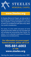 STEELESMEMORIAL CHAPELwww.Steeles.orgAt Steeles Memorial Chapel, we take pride inproviding the Jewish community with a servicethat is sensitive, caring and helpful in your timeof need. Our professional staff takes every detailinto careful consideration.For some, it is the relief and peace of mindknowing that their wishes are now recorded andwill someday be honoured by their family. Forothers, it is to unburden loved ones of financialdecisions at an emotional time.For information on prearrangedfuneral services, please call us at905-881-6003or visitwww.steeles.orgServing the Jewish Community since 1927. STEELES MEMORIAL CHAPEL www.Steeles.org At Steeles Memorial Chapel, we take pride in providing the Jewish community with a service that is sensitive, caring and helpful in your time of need. Our professional staff takes every detail into careful consideration. For some, it is the relief and peace of mind knowing that their wishes are now recorded and will someday be honoured by their family. For others, it is to unburden loved ones of financial decisions at an emotional time. For information on prearranged funeral services, please call us at 905-881-6003 or visit www.steeles.org Serving the Jewish Community since 1927.