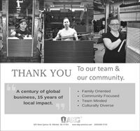 To our team &THANK YOUour community.A century of globalbusiness, 15 years oflocal impact. Family OrientedCommunity FocusedTeam MindedCulturally DiverseDAKG925 West Quince St. Mitchell, SD 57301www.akg-america.com (605)996-5700THL To our team & THANK YOU our community. A century of global business, 15 years of local impact.  Family Oriented Community Focused Team Minded Culturally Diverse DAKG 925 West Quince St. Mitchell, SD 57301 www.akg-america.com (605)996-5700 THL