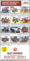 """EQUIPMENT YOU NEED AT APRICE YOU CAN AFFORD.CASE i2012 Case IH 8230, 1592 Engine Hours, 1073 2005 Case IH MIMISS /w LX162 Loader, 2011 Case IH 6088, 4wd, 2185/1632 Hours.Separator Hours, PWRD, Full Guidance, Power MFD, 155 H.P. 18 Speed Power Shift, 7.5L 6 Gaidance Ready, HD Stadium Lighting. 2Hopper Extensions, HID Lighting, $20/85R42 Gylinder Diesel, Dual Speed PTO, 3046 Hours, Speed Hydro, Cummins, 520/8SRAZ FirestoneDual Tires, 600/70R28 Rear Tires. $180,000 Closed Center Hydraulics, 4 Remotes, Runs Duak, 600/65R28 Rear Firestones, Pre-Good, Good Condition...562,500 Emissions, Local Combine . .$119,000Case IH RMX 340 Disk, 34, 7.5"""" spacing, Iw 2015 John Deere 6125M, Only 240 Hours, 2010 Case IH 8120, RWA, One Owner, 19353 Bar Spike Harrow, 18.S Front Blades, 20.25 Pre-DEF, One Owner, 4x4d, 125 H.P. 2 Remotes, Engine Hours, 1284 Separator Hours, Guidance,Rear Blades, Good Paint, Always Shedded Dual Speed PTO, Excellent condition. $79,900 Lateral Tilt, HID lighting. Chopper, 520/8SR42Dual Tires, 600V6SR28 Rear Tihes. $120,000$28,0001997 Case IH 8920 MFD. 6394 Hours. Local 2000 International 8100, 10Diesel 2013 30' Mcfarlane Reel Disk /w 3 BarTractor 8.3 Cummins. Ful Powershift. Dual Speed with 1996 Maurer Grain Trailer, Package Harrow and Basket. Single Point DepthPTO. 3 Remotes. 90 18.4 R42 Michelen Duak.$20,000 Control. Good Paint. One Owner. Local$22,500155 PTO HP. Runs and Drives Great ..$46,900Trade.2016 Case HMagnum 310 Full Power Shift, Only 1998 Case IH 9330 /w3 point Hitch & 1000 2014 42.5 Case IH Tigermate 200 /w 5744 Hours! MFD, Lunury Cab, 360 LED Lighting RPM PTO. 4018 Hours. 2 Owner. Local Tractor. Bar Spike Harrow, Rear Hith /w Hydraulics,Full Case IH Guidance, High Capacity Drawbar and 184 38 Fiestones. 240 H.P. &3 Cunnins. Very Knock-on Sweeps, One Owner..Hydraudic Pump. S Remotés, Duai Speed PT0. One Clan.Owner, Local Trade.$39,500$65,000$189,0000% Interestfor 36 Mo.on SelectCombines!Ested1949BLUFF EQUIPMENTWHERE YOU'RE ALWAYS WELCOME618-283-3277"""