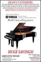 DEAR CUSTOMERS,WE ARE WORKING VERY HARD TO MAKE SURE THAT OURMUSIC STORE, SCHOOL OF MUSIC & ART GALLERY MAINTAINHIGH STANDARDS OF CLEANLINESS &HYGIENE EVERYDAY.SHOP WITH US WITH CONFIDENCE!GREAT SELECTION OF* YAMAHA DIGITAL PIANOS,World's best-selling pianosUPRIGHTS, GRANDS & DISKLAVIERTAHARAHUGE SAVINGS!GIOVANNI MUSIC10528 - MAYFIELD RD.780.944.9090giovannimusic.caMON-SAT 9:30-6PMCLOSED SUNDAYSSAME LOCATIONAS GIOVANNI SCHOOL OF MUSIC FINE ART GALLERY DEAR CUSTOMERS, WE ARE WORKING VERY HARD TO MAKE SURE THAT OUR MUSIC STORE, SCHOOL OF MUSIC & ART GALLERY MAINTAIN HIGH STANDARDS OF CLEANLINESS &HYGIENE EVERYDAY. SHOP WITH US WITH CONFIDENCE! GREAT SELECTION OF * YAMAHA DIGITAL PIANOS, World's best-selling pianos UPRIGHTS, GRANDS & DISKLAVIER TAHARA HUGE SAVINGS! GIOVANNI MUSIC 10528 - MAYFIELD RD. 780.944.9090 giovannimusic.ca MON-SAT 9:30-6PM CLOSED SUNDAYS SAME LOCATIONAS  GIOVANNI SCHOOL OF MUSIC  FINE ART GALLERY