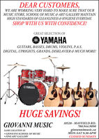 DEAR CUSTOMERS,WE ARE WORKING VERY HARD TO MAKE SURE THAT OURMUSIC STORE, SCHOOL OF MUSIC & ART GALLERY MAINTAINHIGH STANDARDS OF CLEANLINESS &HYGIENE EVERYDAY.SHOP WITH US WITH CONFIDENCE!GREAT SELECTION OFHAGUITARS, BASSES, DRUMS, VIOLINS, P.A.S.DIGITAL, UPRIGHTS, GRANDS, DISKLAVIER & MUCH MORE!HAHUGE SAVINGS!GIOVANNI MUSIC10528 - MAYFIELD RD.780.944.9090giovannimusic.caMON-SAT 9:30-6PMSAME LOCATIONAS GIOVANNI SCHOOL OF MUSIC FINE ART GALLERYCLOSED SUNDAYS DEAR CUSTOMERS, WE ARE WORKING VERY HARD TO MAKE SURE THAT OUR MUSIC STORE, SCHOOL OF MUSIC & ART GALLERY MAINTAIN HIGH STANDARDS OF CLEANLINESS &HYGIENE EVERYDAY. SHOP WITH US WITH CONFIDENCE! GREAT SELECTION OF HA GUITARS, BASSES, DRUMS, VIOLINS, P.A.S. DIGITAL, UPRIGHTS, GRANDS, DISKLAVIER & MUCH MORE! HA HUGE SAVINGS! GIOVANNI MUSIC 10528 - MAYFIELD RD. 780.944.9090 giovannimusic.ca MON-SAT 9:30-6PM SAME LOCATIONAS  GIOVANNI SCHOOL OF MUSIC  FINE ART GALLERY CLOSED SUNDAYS