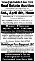 Vemon (High Pockets) & Jean BoeckReal Estate AuctionFrom Hwy 35 & Hwy 70 West to Greely Rd, South 1 mile,From Braham 1 mile North to Hwy 70, 4 miles East, 1 mile South on Greely RdSat., April 4th, NoonMLS# 5504738 8330 Clint Rd Braham, MNFarmstead & 10 AcresMLS #5504660 70 acres of vacant land to besplit off a larger parcel. Good rich farmlandwith access off of a tar rd & a township rdOpen HouseApril 3rd 2-6pmListing Agent: Lee Olson, 612-390-3133 Re/Max ResultsAuction will be held outside with plenty ofspace for social distancing. Farm Machinerywill be sold at a Heidelberger Farm Equip-ment consignment auction at a later dateAuctioneer: Cullen Bartz #3048Sale Conducted by:Heidelberger Fam Equipment, LLCCall Dale Heidelberger 320-629-1122HeidelbergerFarmEquip_llc@hotmail.com Auction #587006All sales are final. Not responsible for accidents. Close within 30-60 days$5000 non refundable check the day of the saleHeidelberger's SpringConsignment AuctionPostponed New Date TBD Vemon (High Pockets) & Jean Boeck Real Estate Auction From Hwy 35 & Hwy 70 West to Greely Rd, South 1 mile, From Braham 1 mile North to Hwy 70, 4 miles East, 1 mile South on Greely Rd Sat., April 4th, Noon MLS# 5504738 8330 Clint Rd Braham, MN Farmstead & 10 Acres MLS #5504660 70 acres of vacant land to be split off a larger parcel. Good rich farmland with access off of a tar rd & a township rd Open House April 3rd 2-6pm Listing Agent: Lee Olson, 612-390-3133 Re/Max Results Auction will be held outside with plenty of space for social distancing. Farm Machinery will be sold at a Heidelberger Farm Equip- ment consignment auction at a later date Auctioneer: Cullen Bartz #3048 Sale Conducted by: Heidelberger Fam Equipment, LLC Call Dale Heidelberger 320-629-1122 HeidelbergerFarmEquip_llc@hotmail.com Auction #587006 All sales are final. Not responsible for accidents. Close within 30-60 days $5000 non refundable check the day of the sale Heidelberger's Spring Consignment Auction Postponed New Date TBD