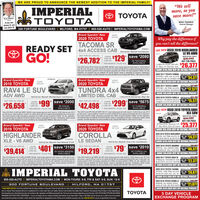 "WE ARE PROUD TO ANNOUNCE THE NEWEST ADDITION TO THE IMPERIAL FAMILY!L0 IMPERIALTOYOTA""We sellmore, so yousave more!""O TOYOTAKevin MeehanOunerIf you candream it, youcan drive it!MIKE PENNER,General Manager300 FORTUNE BOULEVARD 