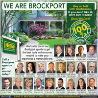 """WE ARE BROCKPORTBuy or Sellwith Confidence.If you don't like it,we'll buy it back!GuaranteedBOWARDSOLDMONEY BACKHOowardTannanWork with one of ourBrockport agents to getthe best tools and resourcesneeded to make yourexperience a memorable one.Real Estate ServicesDan Powell""""ManagerC 585-704-8324Joanne Bocach""""C 585-415-6107 C 585-851-5443 C 585-506-8417Lazarus Bhujel Timothy ClarkCall aBrockportagent togetstarted20 20093today!Kimberlie Donley* Morgan Fisher* Rocco Gervasi* Jamey Hinman"""" Joshua Hinman* Pamela Ketchum Olga LippaC 585-329-7848 C 585-353-1202 C 585-739-4880 C 585-474-5714 C 585-331-6006 C 585-305-4656 C 583-278-7653Craig Lape""""C 585-507-1109William Marcellette John McNallC 585-727-9383Vickie Sweet"""""""" Melissa Wannike Mark Weston""""C585-315-2734 C 585-750-2906 C 585-739-6976 C585-283-9038 C 585-415-9037""""Eve"""" Meagher Andrew Sobolew Brenda G. Swanger"""" Mark Swanson*C 585-259-6485 C 585-737-7937 C 585-315-7175Like us onf9 MAIN ST. BROCKPORT, NY 14420 