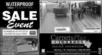 WATERPROOFFLOORINGSALEEventCarpets PlusCOLORTILEDestinationCOLORTILE PROTE ORANCE WATERPROOF FLOORINOIRINGHUNDREDS OF STYLES &COMEtecCOREtecthe CrialCOLORS ON SALE NOW!CarpetsPlusCOLORTILENO INTERESTIF PAID INFULL FOR12 MONTHSWITH REGULARPAYMENTSSce store for details.CmpeL PlusCOLORTILES1234 5678 9012 3456VISADESIGN SHOWROOMVISA955 Hwy. 7 W  Hutchinson  (320) 587-6070Mon. & Thurs. 8:30 am-8:00 pm; Tues., Wed. & Fri. 8:30 am-5:30 pm; Sat. 8:30 am-4:00 pmwww.CarpetsPlusColortileHutchinson.comYour Nane RernVeteran OwnedSmall Business WATERPROOF FLOORING SALE Event Carpets Plus COLORTILE Destination COLORTILE PRO TE ORANCE WATERPROOF FLOORINO IRING HUNDREDS OF STYLES & COMEtec COREtec the Crial COLORS ON SALE NOW! CarpetsPlus COLORTILE NO INTEREST IF PAID IN FULL FOR 12 MONTHS WITH REGULAR PAYMENTS Sce store for details. CmpeL Plus COLORTILES 1234 5678 9012 3456 VISA DESIGN SHOWROOM VISA 955 Hwy. 7 W  Hutchinson  (320) 587-6070 Mon. & Thurs. 8:30 am-8:00 pm; Tues., Wed. & Fri. 8:30 am-5:30 pm; Sat. 8:30 am-4:00 pm www.CarpetsPlusColortileHutchinson.com Your Nane Rern Veteran Owned Small Business