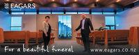 E EAGARSFUNERALSFor a beautiful funeralwww.eagars.co.nz E EAGARS FUNERALS For a beautiful funeral www.eagars.co.nz