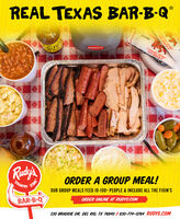 "REAL TEXAS BAR-B-Q°COUNTRCATERING""COUNYRY STOREA BAR-8-QRudy'sOUR GROUP MEALS FEED 10-100 PEOPLE & INCLUDE ALL THE FIXIN'SORDER ONLINE AT RUDYS.COMORDER A GROUP MEAL!STORECOUNTRYBAR-B-Q330 BRADDIE DR, DEL RIO, TX 78840 