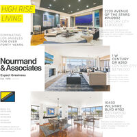 """HIGH RISE2220 AVENUEOF THE STARS#PH2802CENTURY CITY$3.800,000LIVINGRare penthouse with spectacularsweeping views! Voluminous ceilings.just under 12. walls of glass, & updatedwith the finest materials.DOMINATINGLOS ANGELESFOR OVERFORTY YEARS.Nourmand& AssociatesCENTURYDR #26DCENTURY CITY$3,795,000Expect GreatnessLuxurious """"Home in theSky"""" in one of the mostprestigious Guard Gatedbuildings in Los Angeles.Est. 1976NOURMAND&ASSOCIATiES10430Beverly HillsWILSHIREBLVD # 1102WESTWOOD$2.395.000310.274.4000Brentwood310.300.3333Hollywood323.462.6262Welcome to the Mirabella. Asophisticated 2 bedroom plus Den.For additional photos and2.800+ sf condo in the heart ofproperties, please visit us at:Wilshire Corridor.www.nourmand.com HIGH RISE 2220 AVENUE OF THE STARS #PH2802 CENTURY CITY $3.800,000 LIVING Rare penthouse with spectacular sweeping views! Voluminous ceilings. just under 12. walls of glass, & updated with the finest materials. DOMINATING LOS ANGELES FOR OVER FORTY YEARS. Nourmand & Associates CENTURY DR #26D CENTURY CITY $3,795,000 Expect Greatness Luxurious """"Home in the Sky"""" in one of the most prestigious Guard Gated buildings in Los Angeles. Est. 1976 NOURMAND &ASSOCIATiES 10430 Beverly Hills WILSHIRE BLVD # 1102 WESTWOOD $2.395.000 310.274.4000 Brentwood 310.300.3333 Hollywood 323.462.6262 Welcome to the Mirabella. A sophisticated 2 bedroom plus Den. For additional photos and 2.800+ sf condo in the heart of properties, please visit us at: Wilshire Corridor. www.nourmand.com"""