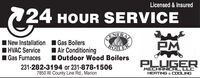 Licensed & Insured24 HOUR SERVICEI New Installation I Gas BoilersIAir ConditioningONFRABOILEE1 Outdoor Wood BoilersHVAC ServiceI Gas FurnacesPLUGER231-282-3194 or 231-878-15067850 W. County Line Rd., MarionMECHANICAL, LLCHEATING & COOLING Licensed & Insured 24 HOUR SERVICE I New Installation I Gas Boilers IAir Conditioning ONFRA BOILEE 1 Outdoor Wood Boilers HVAC Service I Gas Furnaces PLUGER 231-282-3194 or 231-878-1506 7850 W. County Line Rd., Marion MECHANICAL, LLC HEATING & COOLING