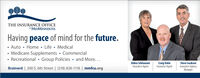 THE INSURANCE OFFICEa MIDMINNESOTAHaving peace of mind for the future. Auto  Home · Life  Medical Medicare Supplements Commercial Recreational  Group Policies  and More...Brainerd | 200 S. 6th Street | (218) 828-1118 | mmfcu.orgDebra SchleusnerInsurance AgentCraig HolmInsurance AgentSteve IsacksonInsurance AgencyManager THE INSURANCE OFFICE a MIDMINNESOTA Having peace of mind for the future.  Auto  Home · Life  Medical  Medicare Supplements Commercial  Recreational  Group Policies  and More... Brainerd | 200 S. 6th Street | (218) 828-1118 | mmfcu.org Debra Schleusner Insurance Agent Craig Holm Insurance Agent Steve Isackson Insurance Agency Manager