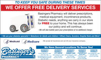 TO KEEP YOU SAFE DURING THESE TIMESWE OFFER FREE DELIVERY SERVICESBasingers Pharmacy will deliver prescriptions,medical equipment, incontinence products,Diabetic needs, anything we carry in our storefor FREE to your home. This has always beenour policy and will continue.-We will also bubble pack your prescriptions at no additional charge~ We are your diabetes specialist  Nebulizers for Adults and children  Wheel Chairs, Scooters, Hospital Beds and More!Medicaid Medicare-We accept all insurances and can bill your insurance companyWe Have Several Locations To Serve You!BasingerbBASINGER'SPHARMACY -CITY CENTERBASINGER'SPHARMACY(inside Will County 2202 Essington Rd., JolietHealth Dept.)BASINGER'SPHARMACYBASINGER'SPHARMACY -PRIMARY CAREESSINGTONPHARMACY2130 W. Jefferson St., Joliet(815) 725-1102Fax Pharmacy (815) 725-7500Fax Home Medical Equipment(815) 725-1844300 N. Ottawa St., Joliet 2025 S. Chicago St., Joliet(815) 722-3200Fax (815) 722-3217PHARMACY-R(815) 723-0300Fax (815) 723-23081106 Neal St., Joliet(815) 768-8465Fax (815) 768-8468(815) 267-3253Fax (815) 436-4586 TO KEEP YOU SAFE DURING THESE TIMES WE OFFER FREE DELIVERY SERVICES Basingers Pharmacy will deliver prescriptions, medical equipment, incontinence products, Diabetic needs, anything we carry in our store for FREE to your home. This has always been our policy and will continue. -We will also bubble pack your prescriptions at no additional charge~  We are your diabetes specialist  Nebulizers for Adults and children  Wheel Chairs, Scooters, Hospital Beds and More! Medicaid Medicare -We accept all insurances and can bill your insurance company We Have Several Locations To Serve You! Basingerb BASINGER'S PHARMACY - CITY CENTER BASINGER'S PHARMACY (inside Will County 2202 Essington Rd., Joliet Health Dept.) BASINGER'S PHARMACY BASINGER'S PHARMACY - PRIMARY CARE ESSINGTON PHARMACY 2130 W. Jefferson St., Joliet (815) 725-1102 Fax Pharmacy (815) 725-7500 Fax Home Medical Equipment (815) 725-1844 300 N. Ottawa St., Joliet 2025 S. Chicago St., Joliet (815) 722-3200 Fax (815) 722-3217 PHARMACY -R (815) 723-0300 Fax (815) 723-2308 1106 Neal St., Joliet (815) 768-8465 Fax (815) 768-8468 (815) 267-3253 Fax (815) 436-4586