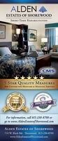ALDENESTATES OF SHOREWOODSHORT-TERM REHABILITATIONCMS5 STAR QUALITY MEASURESfrom CENTERS FOR MEDICARE & MEDICAID SerVIcEsHerald2020 BEST OF-Senior LivingChoiceFor information, call 815-230-8700 orgo to www.AldenEstatesofShorewood.comALDEN ESTATES of SHOREWOOD710 W. Black Rd. Shorewood 815-230-8700www.AldenEstatesofShorewood.comNews.Readers ALDEN ESTATES OF SHOREWOOD SHORT-TERM REHABILITATION CMS 5 STAR QUALITY MEASURES from CENTERS FOR MEDICARE & MEDICAID SerVIcEs Herald 2020 BEST OF -Senior Living Choice For information, call 815-230-8700 or go to www.AldenEstatesofShorewood.com ALDEN ESTATES of SHOREWOOD 710 W. Black Rd. Shorewood 815-230-8700 www.AldenEstatesofShorewood.com News. Readers