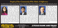 People of Our Community Who Make A DifferenceTexas Bank and Trust celebrates the forty-second anniversary of the Longview Student Board of Directors, recognizing outstanding high school seniors who havedemonstrated academic excellence, leadership, and a commitment to community service. We are proud to introduce the following members of the 2019-2020 Student Board.LAKKADI, Sonof Dr. Rajashekar and RadhaLakkadi, is a senior at LongviewHigh School. He is a memberof the National Honor Society,Technology Student Association,University Interscholastic Leaguerobotics team, and the De Bono,and Latin clubs. Daivik believesJOHN TAYLOR, son ofRebekah Taylor and ShawnTaylor, is a senior at TrinitySchool of Texas. He is thepresident of the senior class,vice president of the drone club,and a member of the NationalHonor Society, History Bowlteam, varsity baseball team, andhe is impacting the world by the Spanish and history clubs. John believes heDAIVIKBETSY RODRIGUEZ, daughterof Patricia and Raul Rodriguez,is a senior at Longview HighSchool. She is an InternationalBaccalaureate student and amember of the National HonorSociety. She is also vice presidentof the Hearts Club, a head drummajor in the band, a section leaderin the orchestra, and a member ofthe Z-Club and the University Interscholastic League serving those who do not have access to the mostcompetition team. Betsy believes she is impacting theworld through her volunteer efforts, which includeraising funds to buy prosthetic limbs for people in needand to fund a mission trip to Columbia. She plans toattend Baylor University and study political science. Mission. He plans to attend Emory University and engineering. John's future goals include working asBetsy's future goals include working as an immigration study biochemistry. Daivik's future goals include a system mechanical engineer and improving thelawyer in her own firm.basic needs, such as shelter, food and clothing: Is impacting the world by showing kindness andthrough h