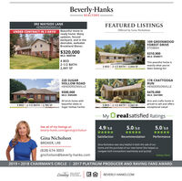 Beverly-Hanks- REALTORS-392 WAYSIDE LANEHENDERSONVILLEFEATURED LISTINGSUNDER CONTRACT IN 3 DAYS! Beautiful move-inready home. Manyupdates, fencedbackyard, and in thedesirable, walkableOffered by Gina Nicholson109 GREENWOODFOREST DRIVEETOWAHBrookland Manor.$320,000$310,900MLS: 3540071MLS: 36007684 BED2-1/2 BATH| 2,441 SFThis peaceful home isexactly what you'vebeen looking for!3 BED | 2-1/2 BATH | 2,064 SF220 SUGARHOLLOW ROADHENDERSONVILLE178 CHATTOOGARUNHENDERSONVILLE$500,000MLS: 3585405$470,000MLS: 3441989All brick home withArts and crafts home ispriced to sell and offersexceptional value!beautiful views in3 BED | 2-1/2 BATH | 2,785 SF3 BED | 2-1/2 BATH | 2,562 SFSugar Hollow Farms!MyOrealsatisfied RatingsSee all of my listings at:beverly-hanks.com/agents/gnicholson4.9/5.05.0/5.05.0/5.0***************SatisfactionRecommendationPerformanceGina NicholsonBROKER, LREGina Nicholson was very helpful in both the sale of ourhome and the purchase of our new home! She helped usnavigate both transactions seamlessly and quickly!(828) 674-3003gnicholson@beverly-hanks.comKelsey Clark2019  2018 CHAIRMAN'S CIRCLE | 2017 PLATINUM PRODUCER AND RAVING FANS AWARDLeadingREAL ESTATECOMPANIES# THE WORLDBEVERLY-HANKS.COM Beverly-Hanks - REALTORS- 392 WAYSIDE LANE HENDERSONVILLE FEATURED LISTINGS UNDER CONTRACT IN 3 DAYS! Beautiful move-in ready home. Many updates, fenced backyard, and in the desirable, walkable Offered by Gina Nicholson 109 GREENWOOD FOREST DRIVE ETOWAH Brookland Manor. $320,000 $310,900 MLS: 3540071 MLS: 3600768 4 BED 2-1/2 BATH | 2,441 SF This peaceful home is exactly what you've been looking for! 3 BED | 2-1/2 BATH | 2,064 SF 220 SUGAR HOLLOW ROAD HENDERSONVILLE 178 CHATTOOGA RUN HENDERSONVILLE $500,000 MLS: 3585405 $470,000 MLS: 3441989 All brick home with Arts and crafts home is priced to sell and offers exceptional value! beautiful views in 3 BED | 2-1/2 BATH | 2,785 SF 3 BED | 2-1/2 BATH | 2,562 SF Sugar Hollow Farms! My Orealsatisfied Ratings See all of my listings at: beverly-hanks.com/agents/gnicholson 4.9/5.0 5.0/5.0 5.0/5.0 ***** ***** ***** Satisfaction Recommendation Performance Gina Nicholson BROKER, LRE Gina Nicholson was very helpful in both the sale of our home and the purchase of our new home! She helped us navigate both transactions seamlessly and quickly! (828) 674-3003 gnicholson@beverly-hanks.com Kelsey Clark 2019  2018 CHAIRMAN'S CIRCLE | 2017 PLATINUM PRODUCER AND RAVING FANS AWARD Leading REAL ESTATE COMPANIES # THE WORLD BEVERLY-HANKS.COM