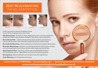 ZEST REJUVENATINGFACIAL AESTHETICSBEFOREAFTERBEFOREAFTERAt Zest we provide a range of procedures to treatmany of the skin's ageing issues, they include:Skin Rejuvenation - Eliminate wrinkles, sagging skin, jowls, crows feet, regeneratecollagen and elastin using Sunekos, a fantastic, long-lasting, natural alternative.No-needle Lip Filler - Instant and long lasting results using the same hyaluronicfiller as traditional fillers. This treatment is gentle and delivers instant results!No-needle Fat Dissolving - Perfect treatment for small areas of stubborn fatty pockets.Dermapen Mesotherapy - Tailored to your individual needs to treat fine lines, wrinkles,acne, scars,pigmentation, skin texture, stretch marks, large pores and dull skin.Hydrating Facial Peel - Hydrating chemical peel using BioRePeel. Great forskin revitalization, dull skin, pigmentation, acne and scarring and large pores.Dermaplaning - Manual exfoliation and removal of vellus hair (peach fuzz).Tooth Whitening with Philips Zoom technology.Contact Karen on 07966 697290 | karenmcb@sky.com | Gaskell Avenue Dental Practice, Knutsfordwww.zestrejuvenatingfacialaesthetics.co.uk ZEST REJUVENATING FACIAL AESTHETICS BEFORE AFTER BEFORE AFTER At Zest we provide a range of procedures to treat many of the skin's ageing issues, they include: Skin Rejuvenation - Eliminate wrinkles, sagging skin, jowls, crows feet, regenerate collagen and elastin using Sunekos, a fantastic, long-lasting, natural alternative. No-needle Lip Filler - Instant and long lasting results using the same hyaluronic filler as traditional fillers. This treatment is gentle and delivers instant results! No-needle Fat Dissolving - Perfect treatment for small areas of stubborn fatty pockets. Dermapen Mesotherapy - Tailored to your individual needs to treat fine lines, wrinkles, acne, scars,pigmentation, skin texture, stretch marks, large pores and dull skin. Hydrating Facial Peel - Hydrating chemical peel using BioRePeel. Great for skin revitalization, dull skin, pigmentation, acne and scarring and large pores. Dermaplaning - Manual exfoliation and removal of vellus hair (peach fuzz). Tooth Whitening with Philips Zoom technology. Contact Karen on 07966 697290 | karenmcb@sky.com | Gaskell Avenue Dental Practice, Knutsford www.zestrejuvenatingfacialaesthetics.co.uk